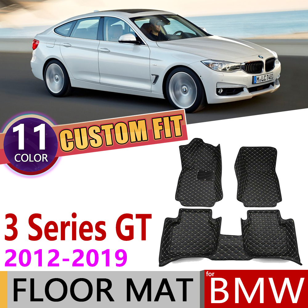 Custom Leather Car Floor Mats For BMW 3 Series Gran Turismo GT F34 2012~2019 5 Seats Foot Pad Carpet Accessories 2013 2014 2015