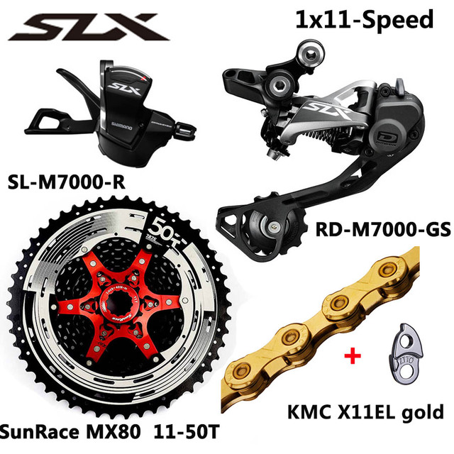 SHIMANO DEORE seis M7000 grupo MTB bicicleta de montaña 1x11-Speed 46T 50T SL + RD + SunRace + KMC X11 M7000 palanca de cambio