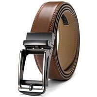 JACNAIP-cinturones de trinquete ajustables para hombre, diseño de lujo de negocios, hebilla de aleación automática, de cuero de vaca, 3,5 cm