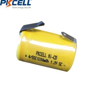 Image 2 - 2/6/8/12PCS PKCELL 4/5SC 1200mAh 1.2V Ni CD Ricaricabile batteria 4/5 SC Sub C batterie con linguette di saldatura per utensili elettrici