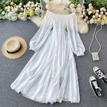 Vestido de gasa con hombros descubiertos para... vestido blanco elegante Maxi de larga Sexy párr playa bohemio Vintage 2021
