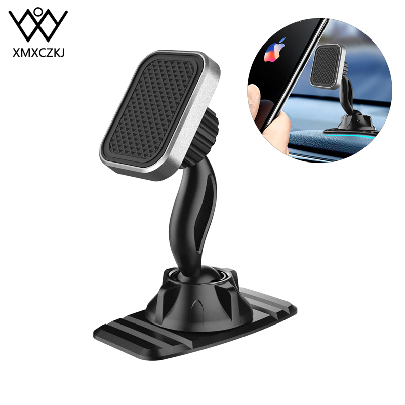 XMXCZKJ Magnetic Car Phone Holder For Phone In Car Double 360 Degree GPS Strong Magnet Holder For IPhone Xiaomi Dashboard Mount