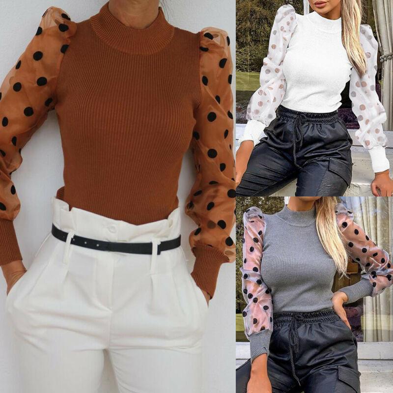 Fashion Mesh Long Sleeve Bodysuit Women Knitted Skinny Sexy Polka Dot Bodysuit Elegant Ladies Long Sleeve Bodysuits Jumpsuit