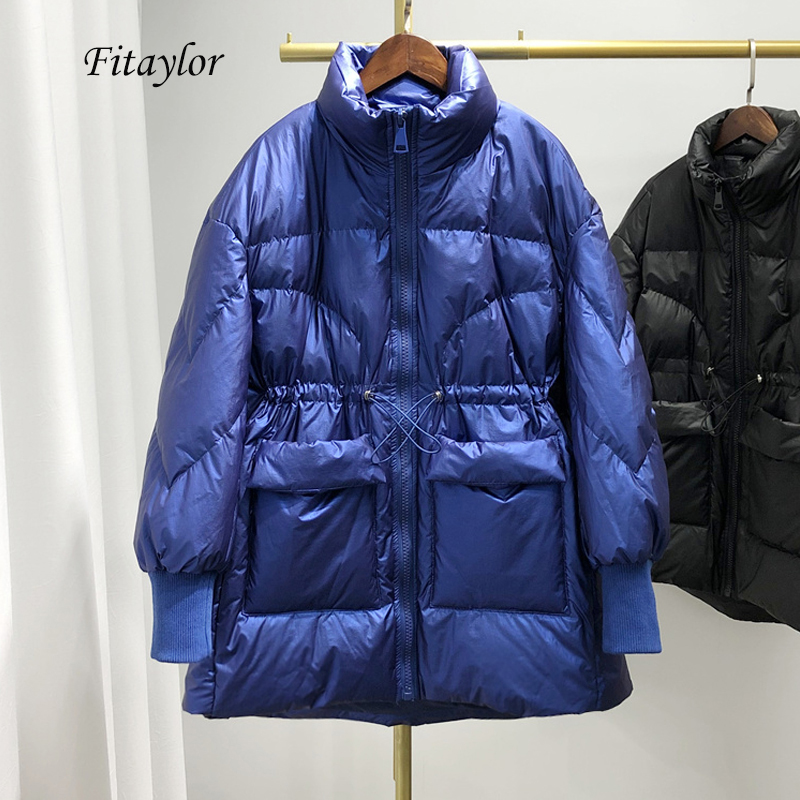 Fitaylor Ultra Light Women Bright Side Down Jacket Winter Warm 90% White Duck Down Loose Parkas Female Sash Tie Up Overcoat
