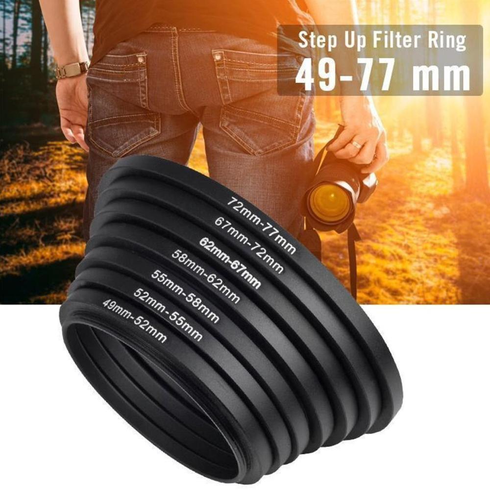 1 Stks 49-52mm 52-55mm 55-58mm 58-62mm 62- 67mm 67-72mm 72-77mm 77-82mm Metalen Step Up Ring Lens Adapter Mount Voor Came