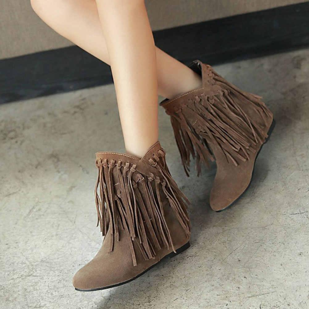 Karinluna 2019 büyük boy 43 moda saçaklar kadın ayakkabı iç topuklu batı çizmeler kadın ayakkabıları kış püskül yarım çizmeler kadın