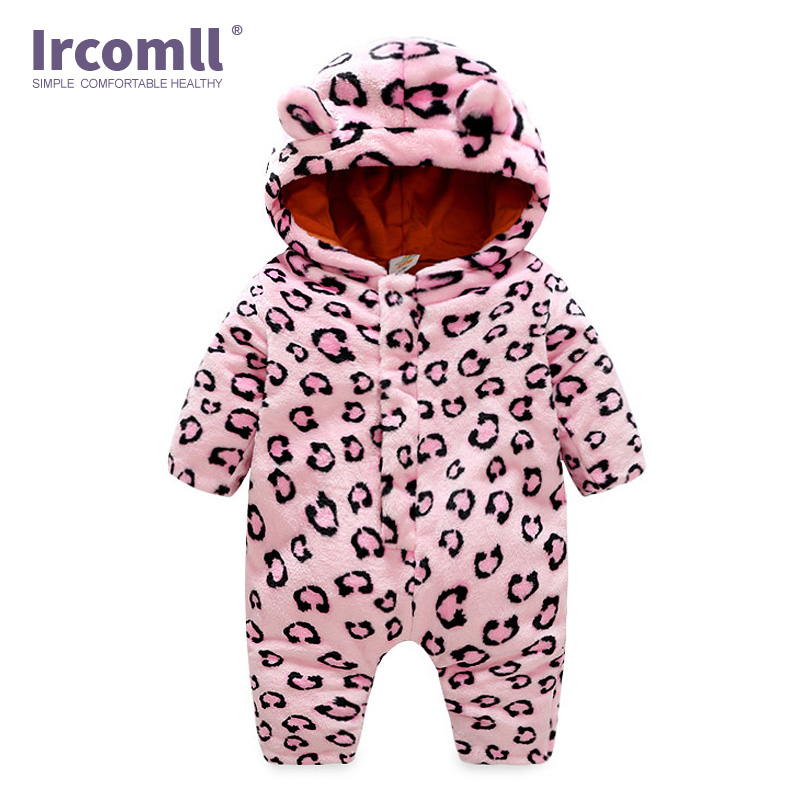 Ircomll New Arrivals Spring Autumn Newborn Boy Girl Clothes Leopard Flannel Long sleeve Kids Toddler Baby Romper Infant jumpsui in Rompers from Mother Kids