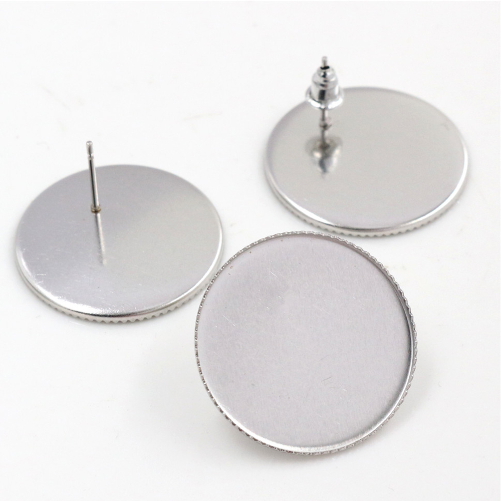 ( No Fade ) 25mm 10pcs Stainless Steel Earring Studs,Earrings Blank/Base,Fit 25mm Glass Cabochons,Buttons-T6-20