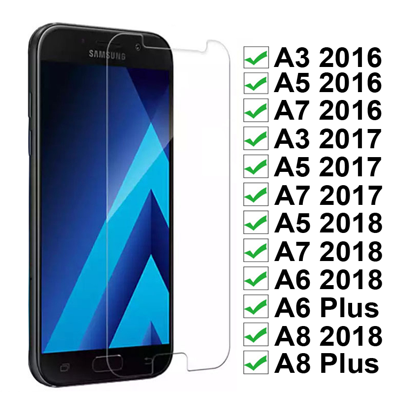 9H HD Premium Tempered <font><b>Glass</b></font> on For <font><b>Samsung</b></font> <font><b>A3</b></font> A5 A7 <font><b>2016</b></font> 2017 2018 Screen Protector for <font><b>Galaxy</b></font> A6 A8 Plus 2018 Protective Film image