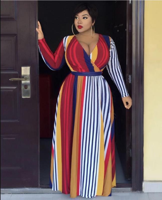 2020 African Clothing Best Quality New Office Lady Plus Size Women Dress Print Turn-down Collar Full Sleeve Ladies Midi Dress