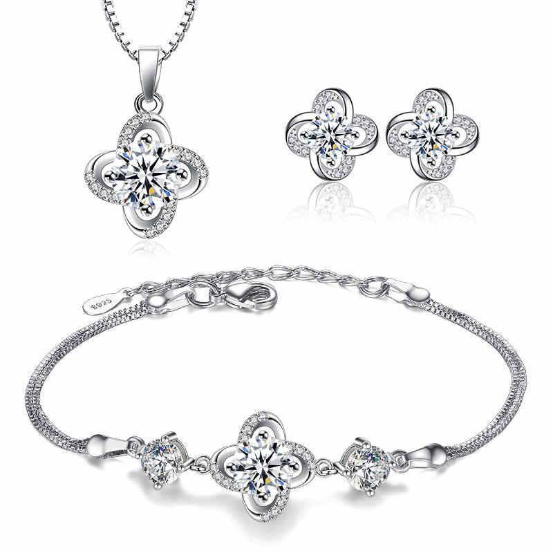 Luxus 925 Sterling Silber Hochzeit Halskette Armband Ohrring Sets Für Immer Liebe Twist Blume Zirkon Braut Schmuck Sets