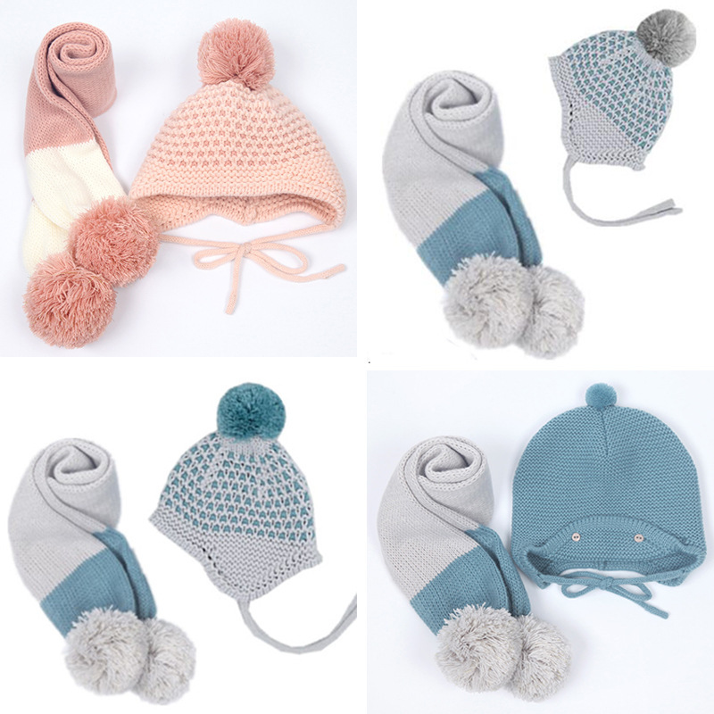 Autumn Winter Children Wool Hat Scarf Two Pieces Set  Baby Warm Ball Hat Scarf 2pcs