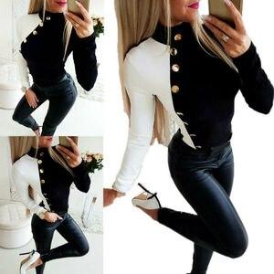 Модная женская сексуальная тонкая водолазка с длинным рукавом, Повседневная Толстовка с пуговицами, пуловер, топы, свитер с капюшоном, рожд...