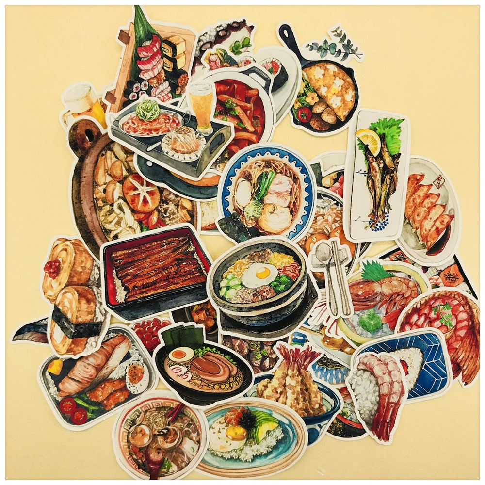 35Pcs/Set Retro Vintage Japanese Korean Food Sticker DIY Craft Scrapbooking Album Junk Journal Planner Decorative Stickers