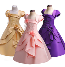 Buyers recommend quality new childrens banquet dress beaded embroidery girl princess dress with hoop flower girl wedding dress