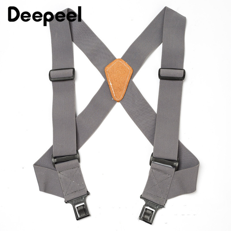Deepeel 1pc 5cm*120cm Men's Polyester Elastic Wide Suspenders Adjustable Elastic X Back Braces Solid Color Adult Suspender YB612