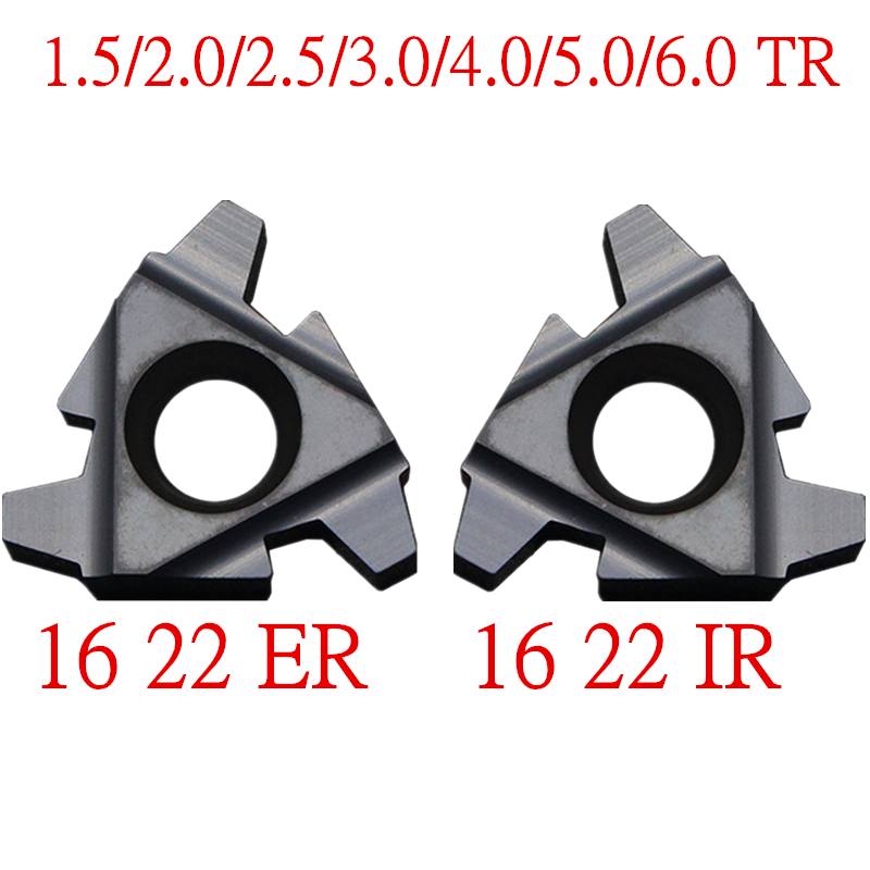 10PCS 16ER 16IR 22ER 22IR 1.5/2.0/2.5/3.0/4/5/6/4.0/5.0/6.0TR Indexable Tungsten Carbide Threading Lathe Inserts Trapen Tool