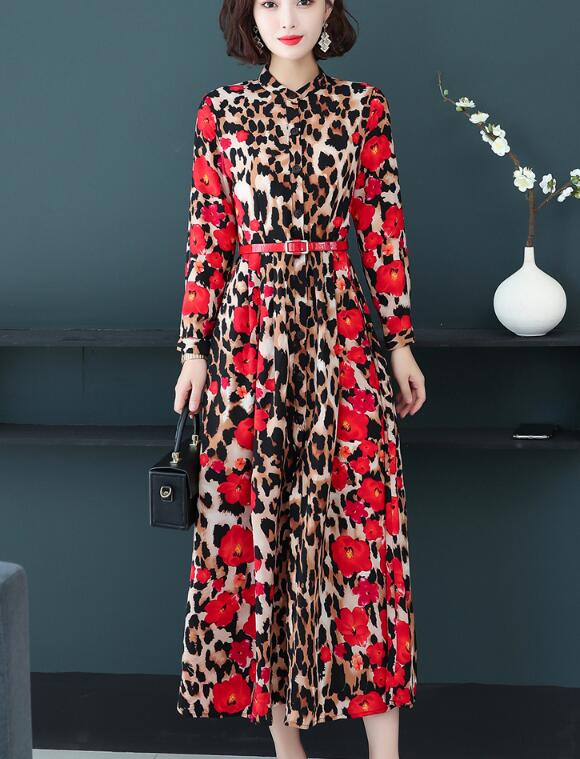 High Quality Plus Size M-5XL Sexy 2019 Autumn New Arrival Stand Collar Leopard Flower Long Sleeve Woman Long Chiffon Dress