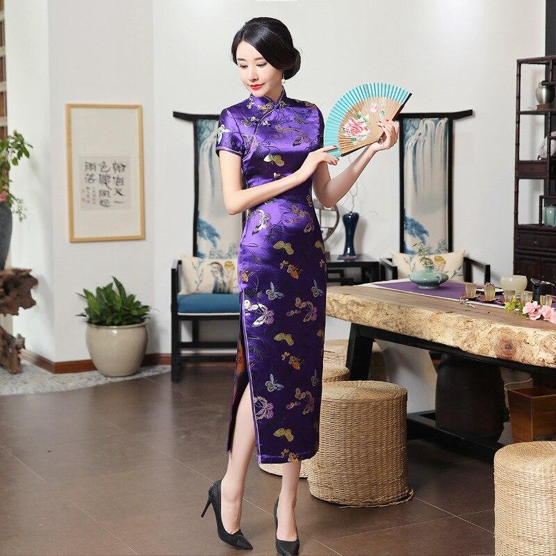 Chinese Traditional Long Cheongsam Dress Slim Floral Butterfly Evening Dresses Women Dresses Elegant Qipao