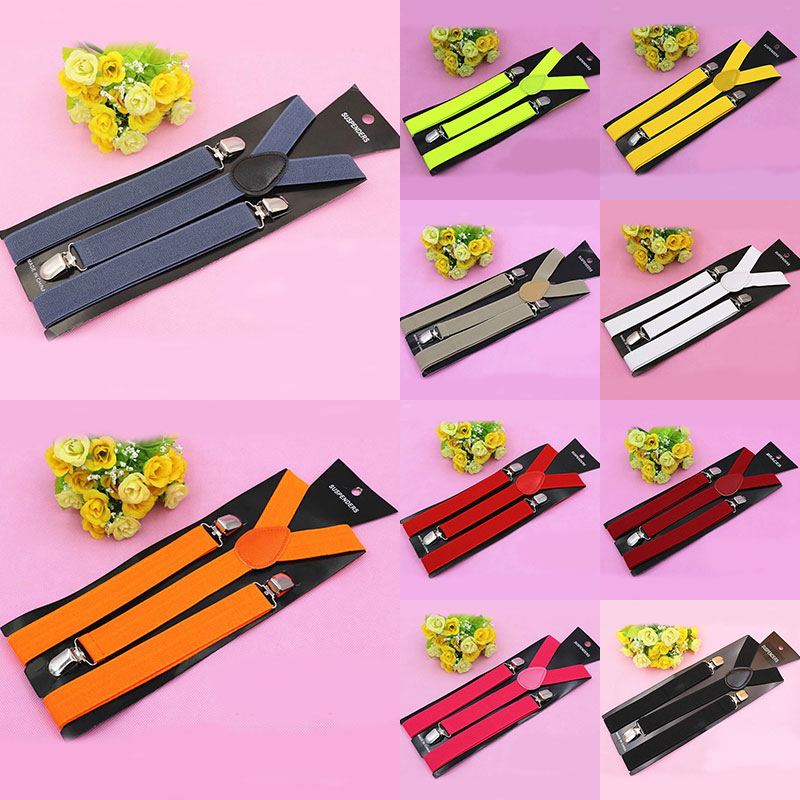 18 Colors Adjustable Elasticated Adult Suspender Straps Y Shape Clip-on Men's Suspenders 3 Clip Pants Braces For Belt Straps