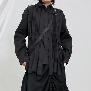 [EAM] Womenblack Ribbon Split Joint Big Size Blouse New Lapel Long Sleeve Loose Fit Shirt Fashion Tide Spring Autumn 2020 1T226