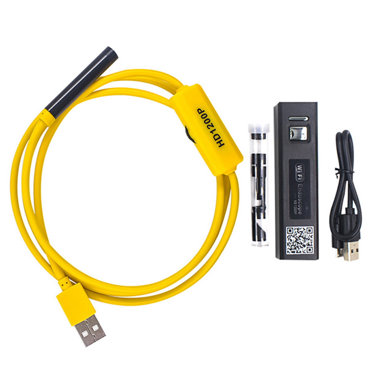 Wireless Transmitter 8LED WIFI Endoscope Camera Waterproof Semi-Rigid Cable 1/5 Inch Sensor Inspection Camera 1200P HD