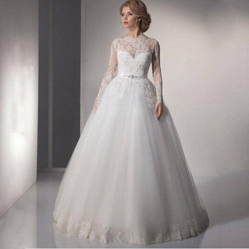 White Lace A-Line Wedding Dresses Illusion Long SleevesLace Brush Train  Appliques O-Neck Button Vestido De Noiva Plus Size