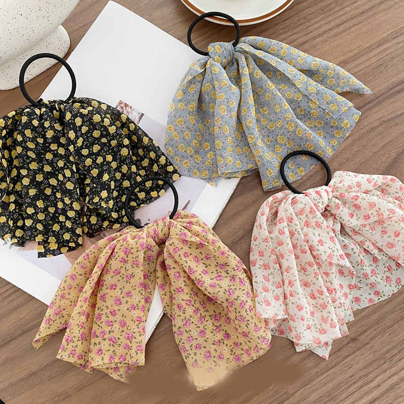 Women Floral Print Hair Ties Scrunchies Elastic Fashion Hair Ring Rope Girls High Quality Scrunchie Hair Accessories New Arrival