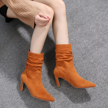 Women's Boots Pointed Toe Yarn Elastic Ankle Boots Thick Heel High Heels Shoes Woman Female Socks Boots 2019 Spring89(China)