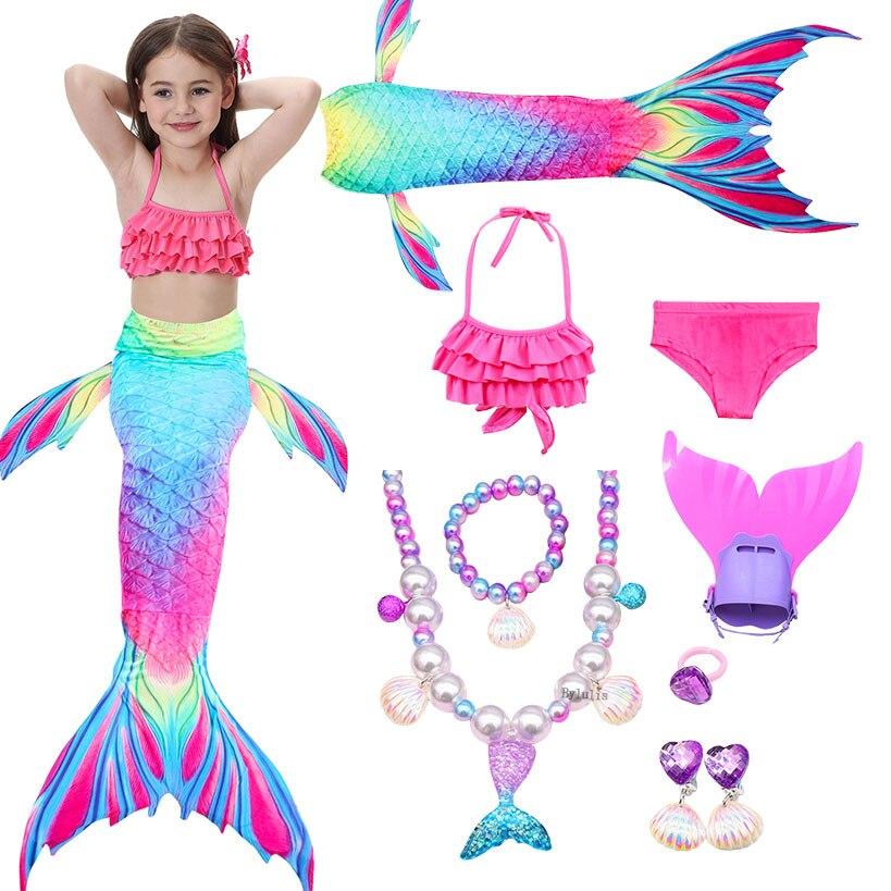 Traje de baño de sirena para niños chicas en Bikini cola de sirena con traje de baño con aletas ropa de niños Split cola de sirena bañador ropa de baño