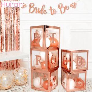 Image 1 - HUIRAN różowe złoto panna młoda być przezroczyste pudełko dekoracje ślubne na wesela zaręczyny dekoracje na wieczór panieński zaopatrzenie na wieczór panieński