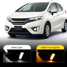 Car Flashing 1Set For Honda jazz fit 2014 2015 2016 LED DRL Daytime Running Lights Daylight Driving light with fog lamp