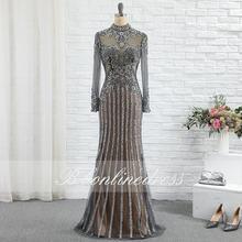 Роскошное серое вечернее платье с длинными кристаллами бисером