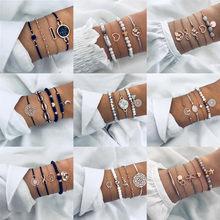 Многослойный женский браслет-цепочка, многослойный браслет в стиле бохо с разноцветными листьями, надписями, картами, геометрическими крис...