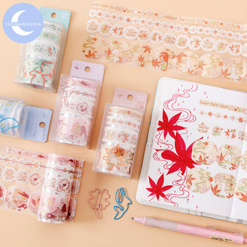 цена на YueGuangXia 4 Designs Adorable Animal Maple Leave Decoration Washi Tape with Clip Scrapbook Cut-off Rule Pure Color Masking Tape