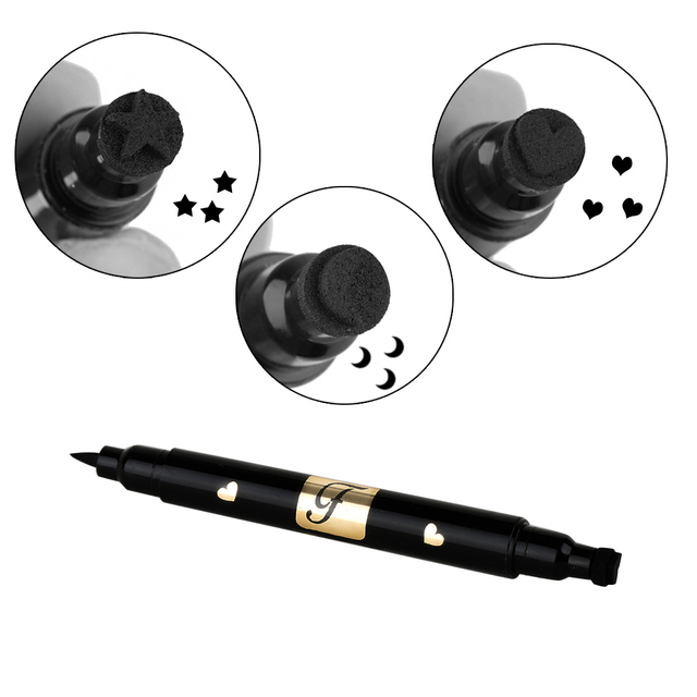 1pcs Double Head Waterproof Liquid Eyeliner Moon Star Heart Shapes Tattoo Stamp Quick To Dry Eye Liner Pencil Makeup Tool 5