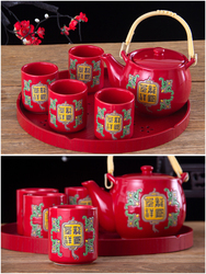 Chinese tradition dragon and phoenix red ceramic wedding ceremony teaware set tea cup pot teapot teacup marriage gift