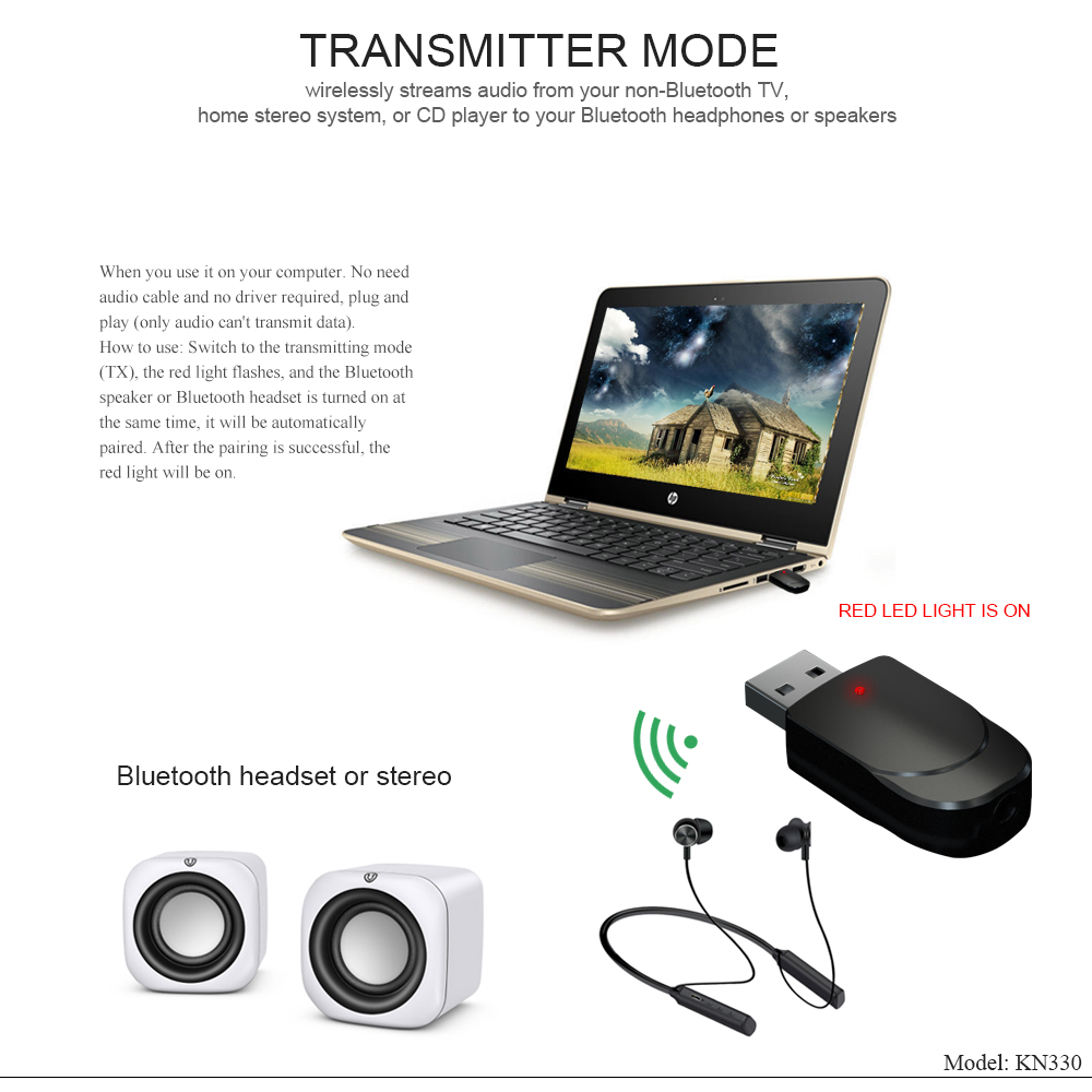 Bluetooth 5.0 Audio Receiver Transmitter 3 IN 1 Mini 3.5mm Jack AUX USB Stereo Music Wireless Adapter for TV Car PC Headphones