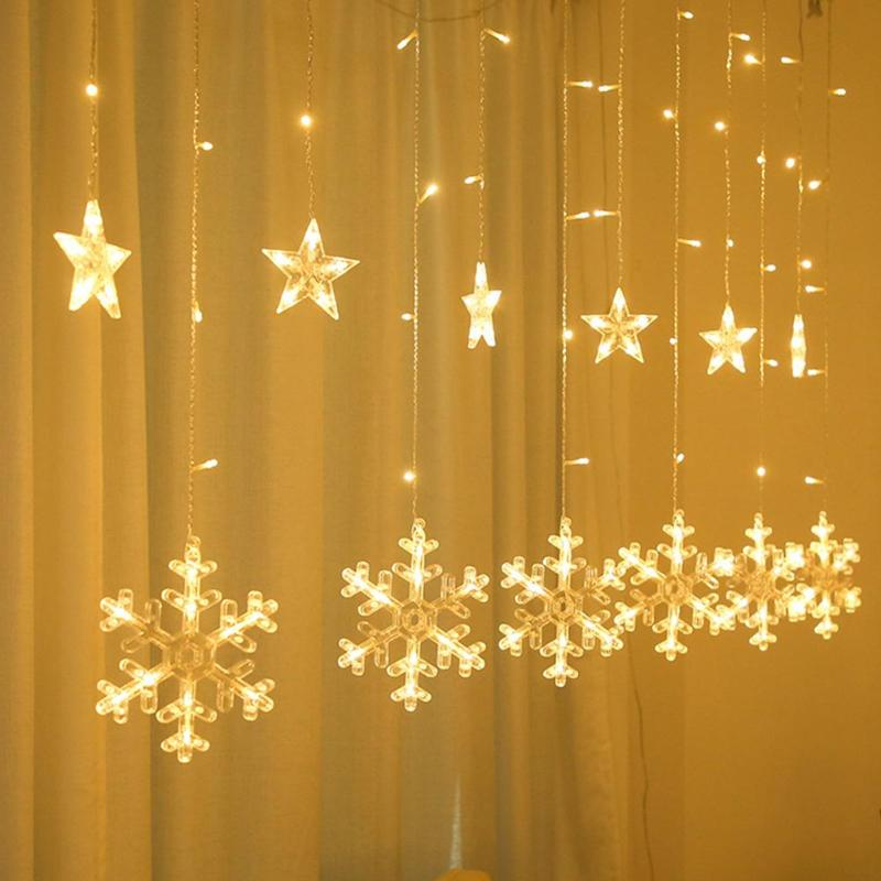 Christmas Snowflake Lamp 5m 138LEDs Curtain String Christmas Decor Lights Decoration Holiday Lights Wedding Fairy Light New