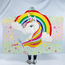 Unicorn Hooded Blanket For Adults Kids Cartoon 3D Printed Soft Plush Portable Warm Throw Home Travel Picnic