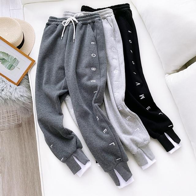 Thick Fleece Elastic Waist Women Harem Pants Drawstring Winter Warm Carrot Pants Letter Printed Streetwear Joggers Trousers 1
