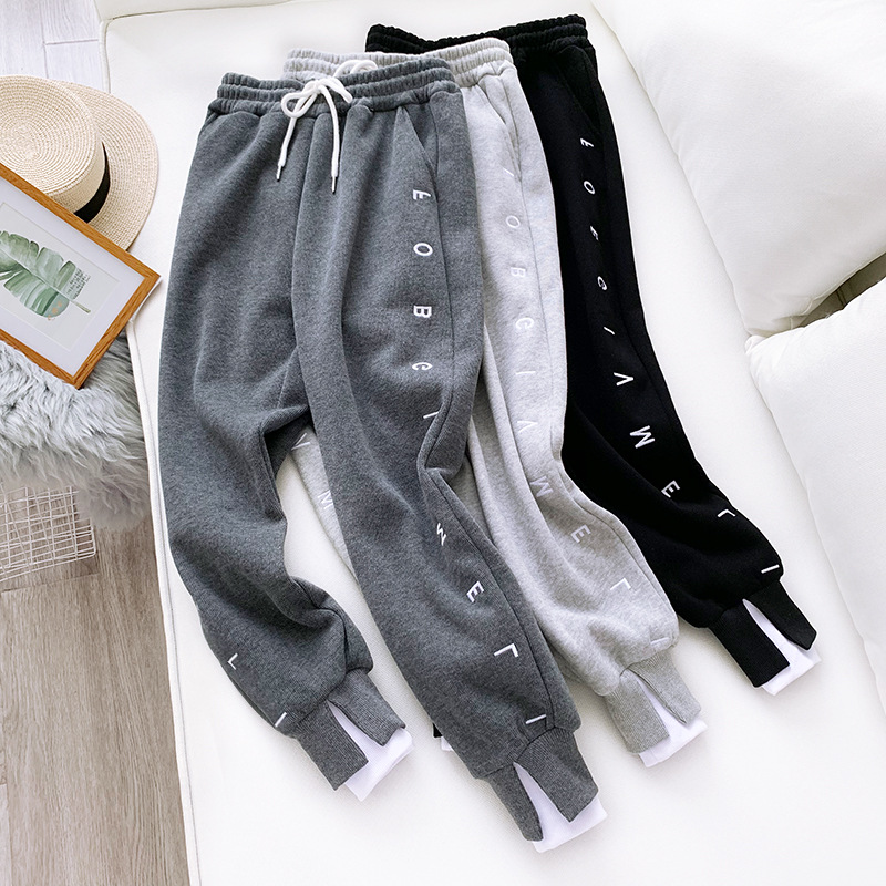 Thick Fleece Elastic Waist Women Harem Pants Drawstring Winter Warm Carrot Pants Letter Printed Streetwear Joggers Trousers