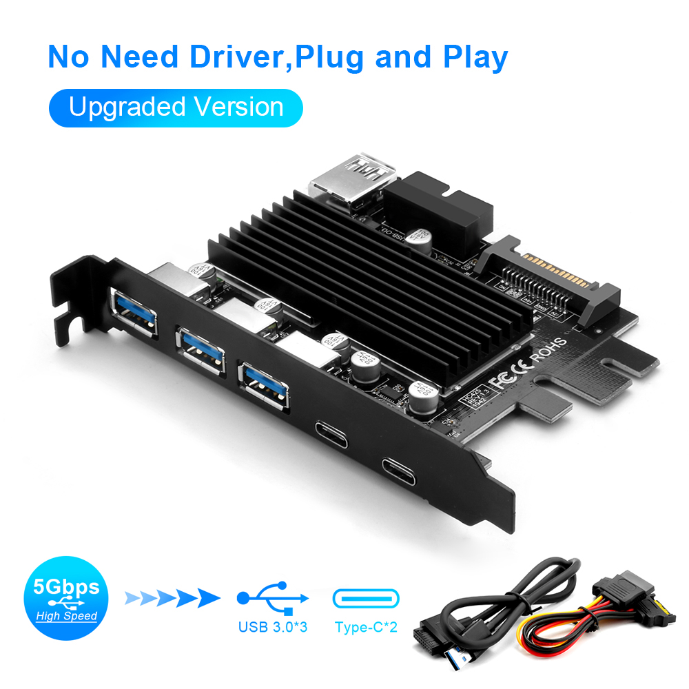 Rocketek USB 3.0 Type C PCI-E Expansion Card 5 Ports Adapter External Controller Express 19 Pin Cable SATA Power Connector Cord