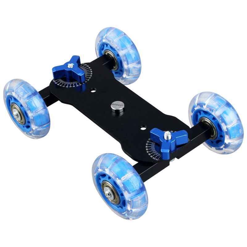 Столешница Долли мини автомобиль Скейтер трек слайдер Супер Mute для DSLR камеры видеокамеры (синий и черный)