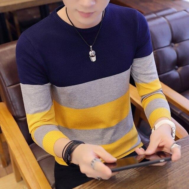 Мужской офисный трикотажный свитер 4