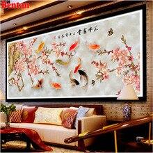 5D DIY Diamond Painting Nine Koi fish Full Square Drill Home Decoration Rhinestone Plum blossom Patterns bead Embroidery sale