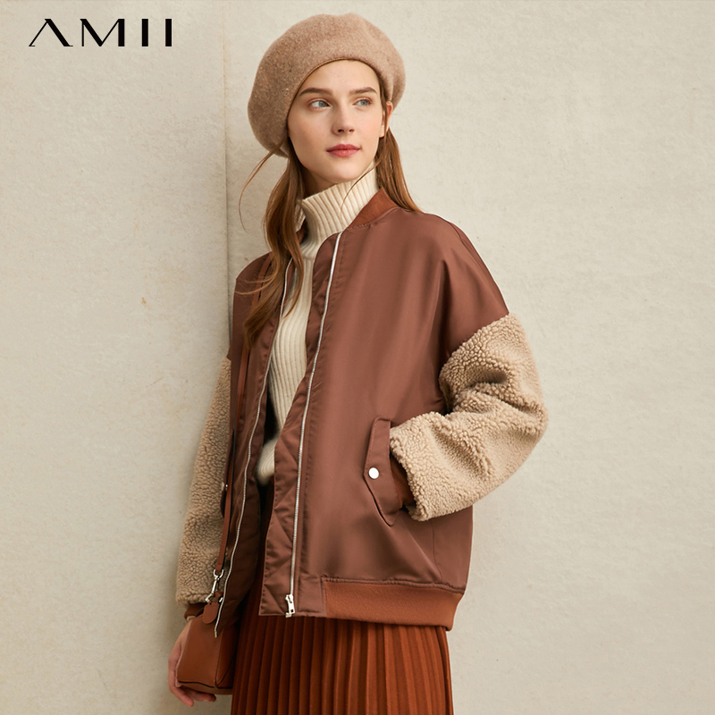 Amii Winter Women Vintage Short Cotton Coat Female Fashion Loose Splicing Thick Cotton Jacket Outerwear 11980092