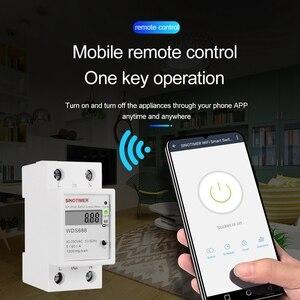 Цифровой Электрический расход кВт/ч din-рейка умный измеритель энергии WiFi измеритель мощности ватт пульт дистанционного управления монитор ...