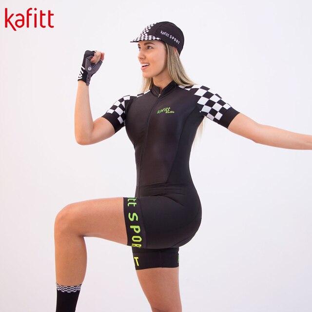 Kafitsummer nova camisa de ciclismo de manga curta terno de uma peça terno profissional feminino triathlon bicicleta de montanha macaquinho 6