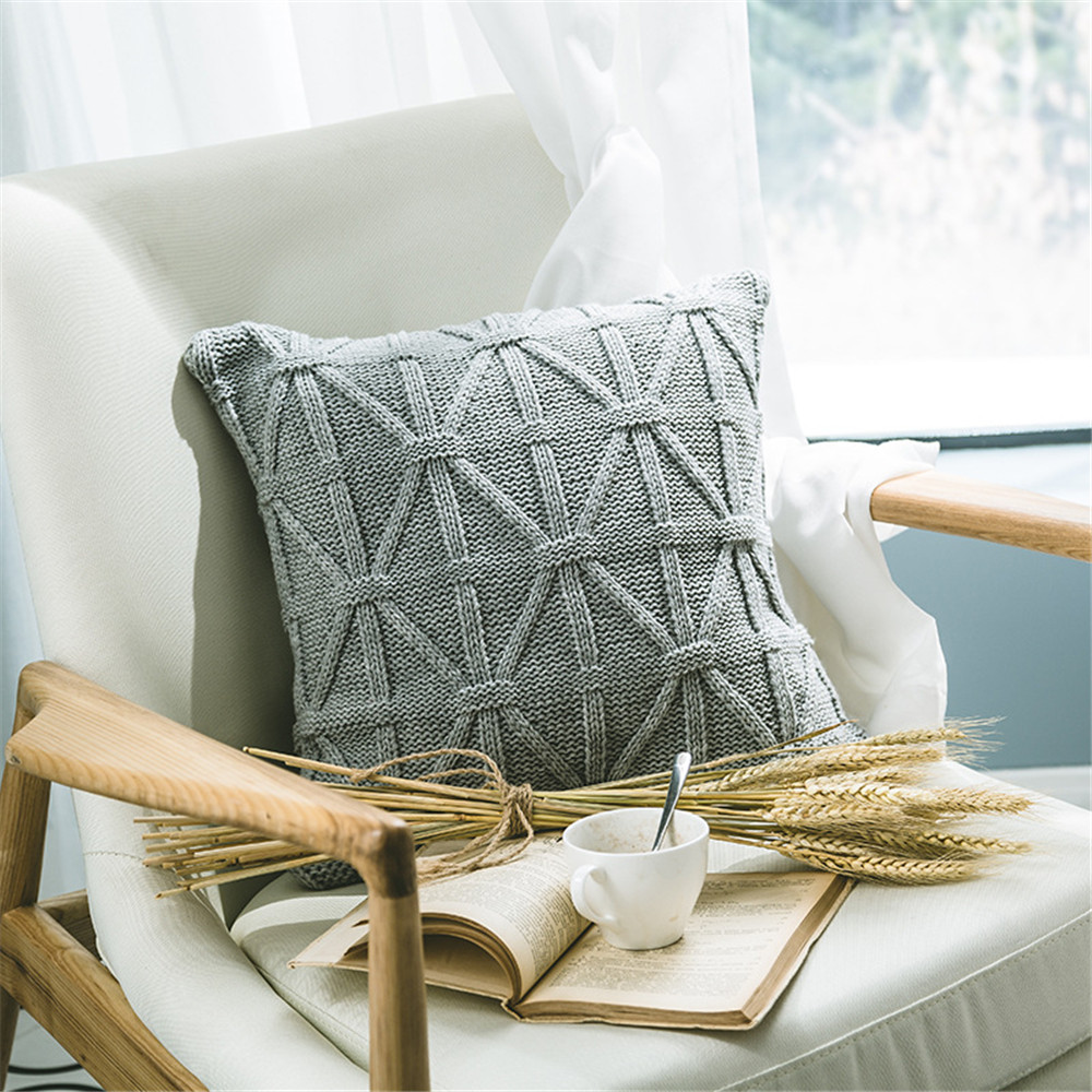 45x45cm Gray Knitted Wool Cushion Cover